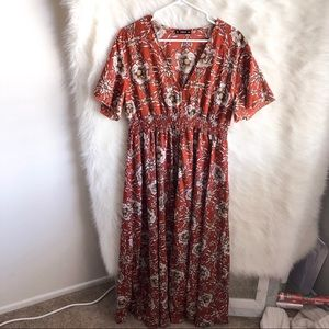 🆕 Shein Red Floral Maxi Dress